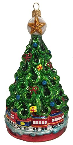 Pinnacle Peak Trading Company Christmas Tree with Toy Train Polish Glass Ornament Made in Poland Decoration