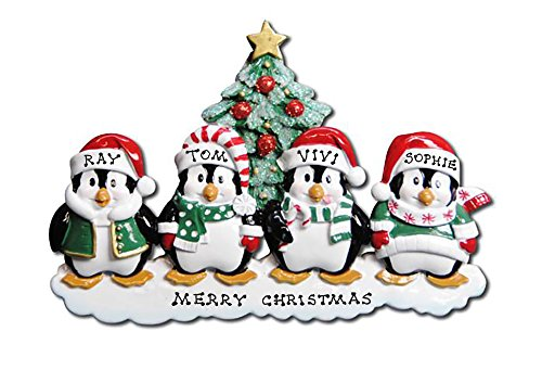 Polar X Personalized Christmas Ornament Penguins Family (Family 4)