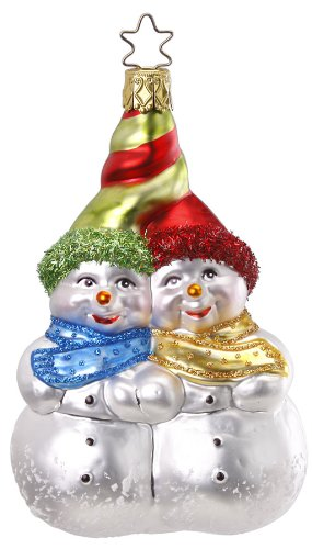 Inge Glas Snowman Tangled for Two 1-027-12 German Glass Christmas Ornament