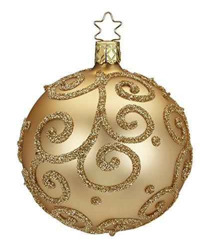 Inge-glas Kugel Ball 10 cm Barocco Cream Gold 20238T010 German Glass Ornament