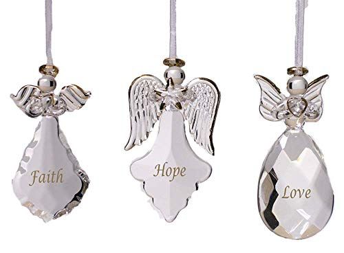 BANBERRY DESIGNS Faith Hope Love Glass Angel Ornaments – Set of 3 – Faith Hope Love Written on Each Ornament in Gold