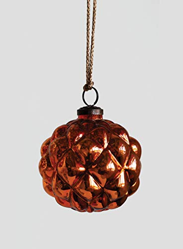 Creative Co-op Orange Glass Ornament, Brown