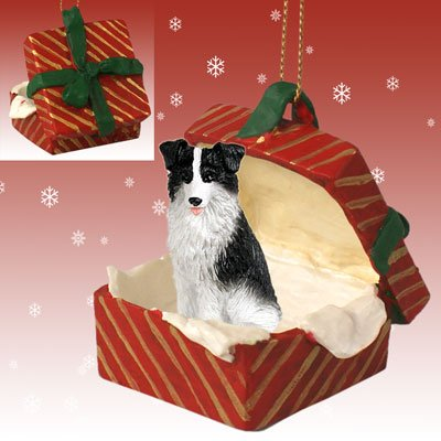 BORDER COLLIE Dog in a Red Gift Box Christmas Ornament New RGBD62