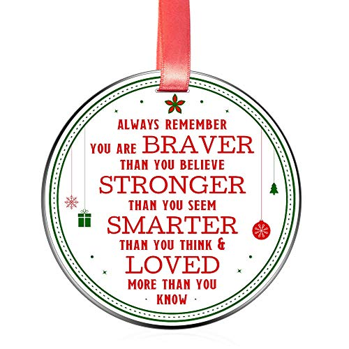 Elegant Chef Motivational and Inspirational Christmas Ornament- Always Remember You are Braver Stronger Smarter- Xmas Holidays Decoration Gift- 3 inch Flat Stainless Steel with Red Ribbon