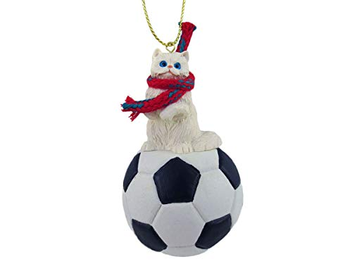 Conversation Concepts White Persian Soccer Ornament