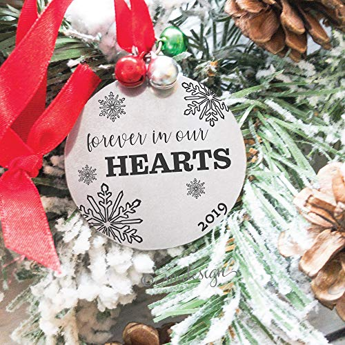 Forever In Our Hearts 2019 Disc Shaped Christmas Ornament For Memorial Remembrance Holiday Commemorate Special Person Ornament