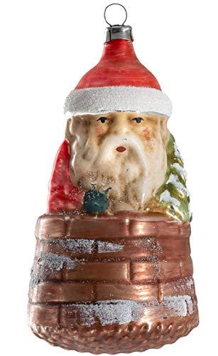 Marolin Nicholas w/Tree in Chimney MA2011213 Glass Christmas Ornament w/Gift Box