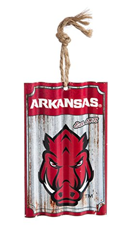 Team Sports America University of Arkansas Corrugated Metal Ornament