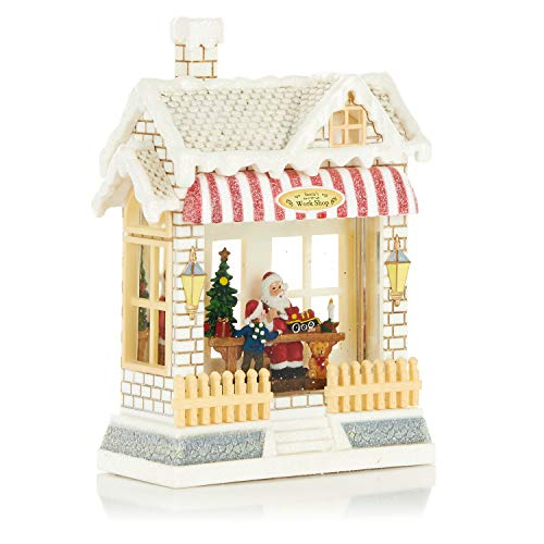 ReLive Christmas Light-Up Snow Globe – Santa's Workshop – Red Awning