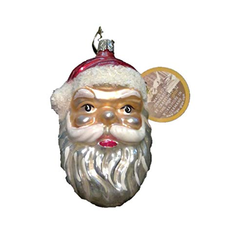 Santa Face by Inge Glass German Glass Christmas Ornament