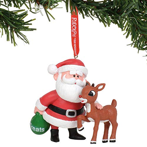 Department 56 Rudolph The Red-Nosed Reindeer and Santa Hanging Ornament, 3 Inch, Multicolor