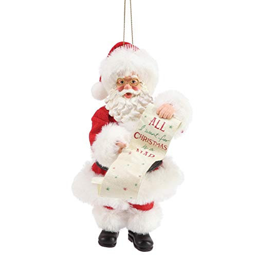 Department 56 Possible Dreams Santa Want a Nap Personalizable Hanging Ornament, 6 Inch, Multicolor