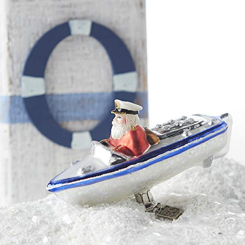 RAZ Imports Santa Driving a Speedboat Clip-On Ornament