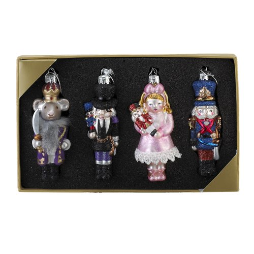 Kurt Adler Noble Gems Nutcracker Suite Ornament, 4-Inch – 4.25-Inch, Set of 4