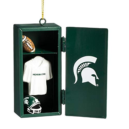Licensed NFL, NCAA & NHL Locker Ornaments with Working Locker Door and Miniature Player Gear Inside (NCAA-Michigan State Spartans)
