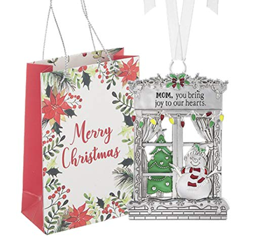 Ganz U.S.A., LLC Window Pane Snowman Ornaments Mom You Bring Joy to Our Hearts for Holiday Christmas Tree Decor Gifts 2019 from Kids Sons Daughters Presented in a Merry Christmas Holiday Bag