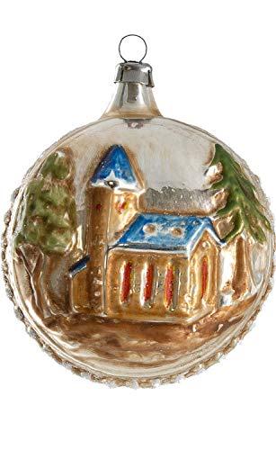 Marolin Church w/Blue Roof, Tree MA2011202 Glass Christmas Ornament w/Gift Box