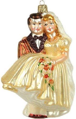 Pinnacle Peak Trading Company Wedding Couple Polish Glass Christmas Ornament Made in Poland Decoration
