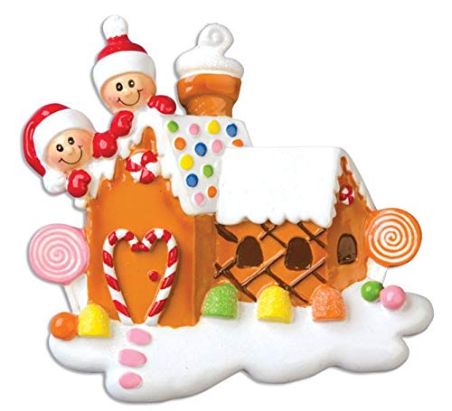 Gingerbread House with 2 Personalized Christmas Tree Ornament