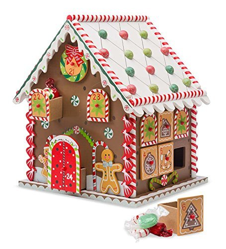 Wooden Gingerbread House Countdown to Christmas Advent Calendar 10.5 x 8 x 9.5 H