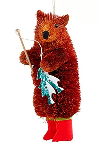 Holiday Lane Bear Wearing Red Boots with Fishing Rod Ornament