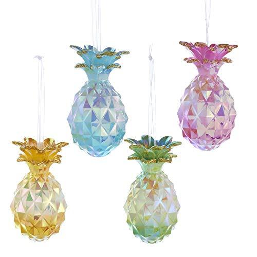 Kurt Adler Pineapple with Gold Glitter Ornaments 4 Assorted