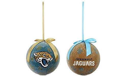 NFL Jacksonville Jaguars LED Lights Ornaments for Christmas Decorations Set of 2, 6″