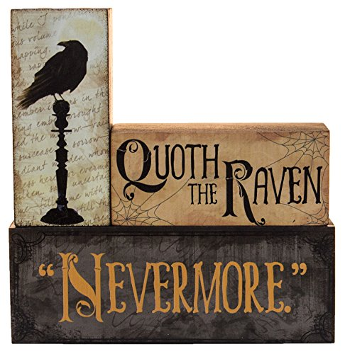"""Halloween Decoration – Quoth The Raven """"Nevermore"""" Stacking Block 3 Piece Set"""