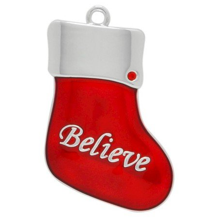 Harvey Lewis Designs Mini Holiday Christmas Ornament BELIEVE Real Swarovsky Crystal