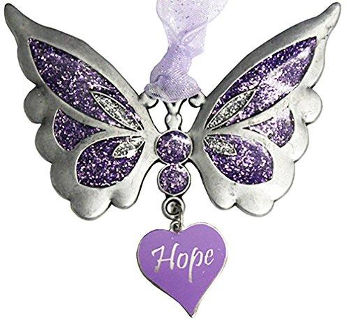 Gloria Duchin Pewter Purple Hope Butterfly Christmas Tree Ornament