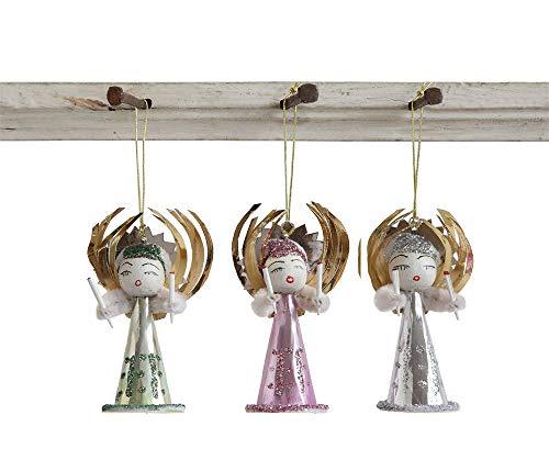 Creative Co-op Christmas Angel Ornaments Set of 6 Paper & Glitter Vintage Christmas Decor