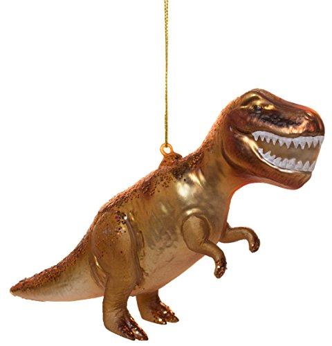 Midwest CBK Tyrannosaurus Rex Orange Speckled 4.5 Inch Blown Glass Christmas Ornament Figurine