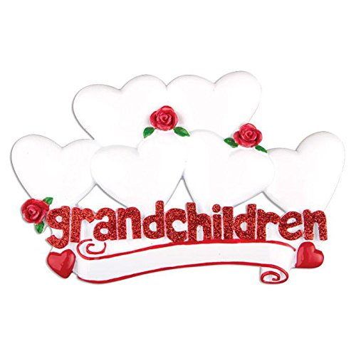 Polar X Grandchildren with 6 Hearts Personalized Christmas Ornament