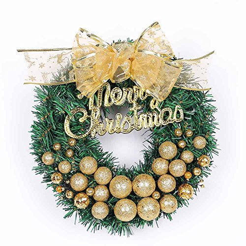 10.8 Inch Woodland Christmas Wreath for Front Door with Glittery Shatterproof Ball Ornaments and Pine Cone, Handmade Xmas Decorations