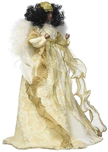 Santa's Workshop Aa Cream& Gold Angel Tree Topper, 16″ Tall, Cream/Gold