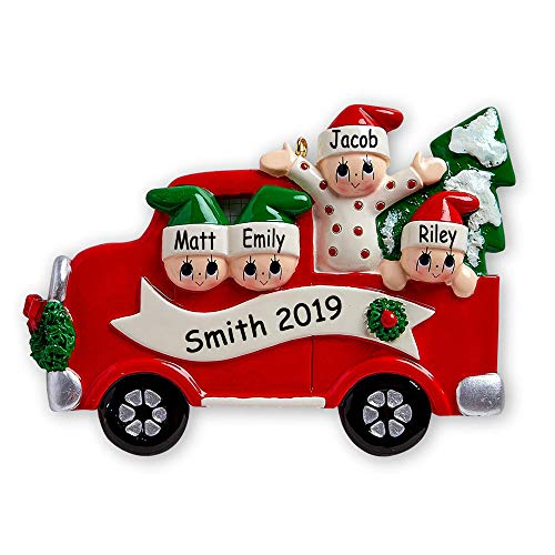 Rudolph and Me Personalized Family of 4 in Red Pick-Up Truck on Tree Day Christmas Ornament Holiday Tree Decoration with Custom Names