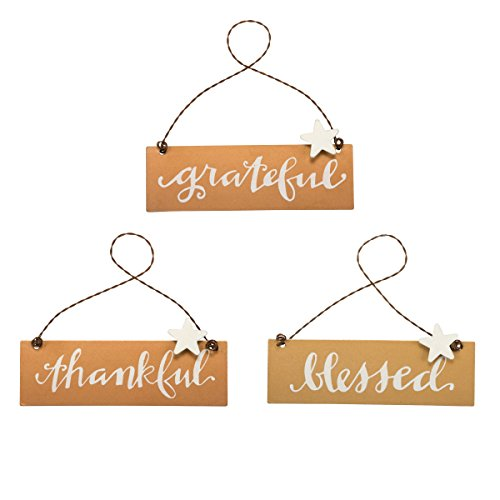 "Tin Decorative Sings ""Thankful"" ""Grateful"" ""Blessed"" – Set of 3 Bronze Gold hanging Ornaments – Harvest, Autumn, Thanksgiving, Farm Fresh Pumpkin Decoration"