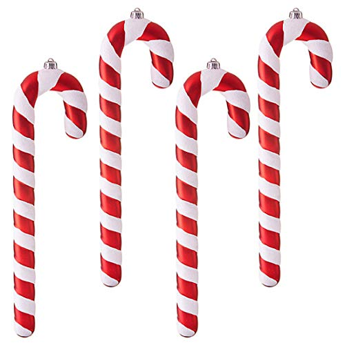 Candy Cane Rosy Red Stripe 16 x 4 Acrylic Christmas Ornaments Boxed Set of 4