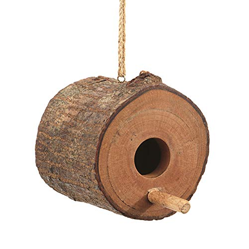 Creative Co-Op Mahogany Log Birdhouse Ornament (Each Will Vary), 4″ Round, Brown