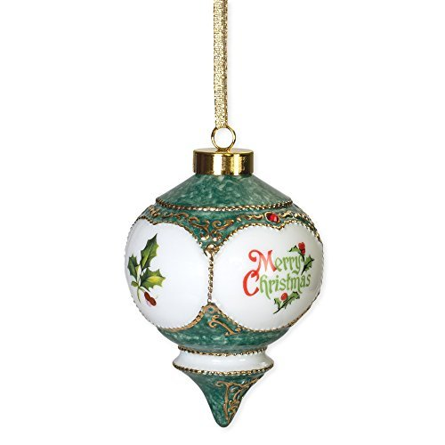 CBE Merry Christmas Red Green Holly Berries Red Jewel Victorian 4.5 in. Ball Christmas Ornament