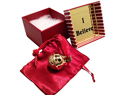 Miniature Santa Sleigh Bell #1 Golden Brass in I Believe Box Help an Angel Get Its Wings