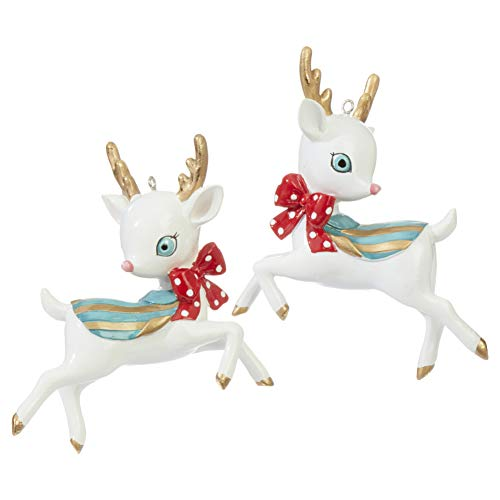 RAZ Imports Christmas Reindeer Ornaments – Set of 2-4 inch x 3.5 inch x 2 inch