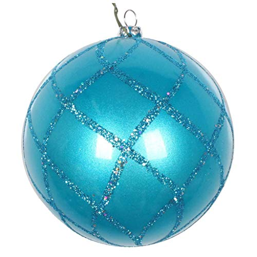 Vickerman 613603-4″ Turquoise Candy Glitter Net Ball Christmas Tree Ornament (3 pack) (MT198012D)