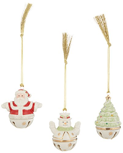 Lenox Sleigh Set of 3 Figural Bell Ornaments