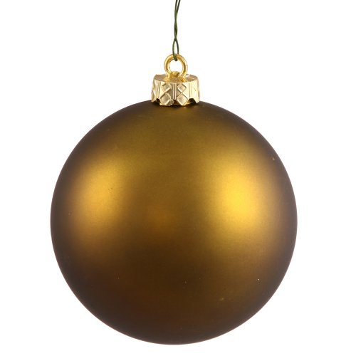 Vickerman Matte Finish Seamless Shatterproof Christmas Ball Ornament, UV Resistant with Drilled Cap, 6 per Bag, 4″, Olive