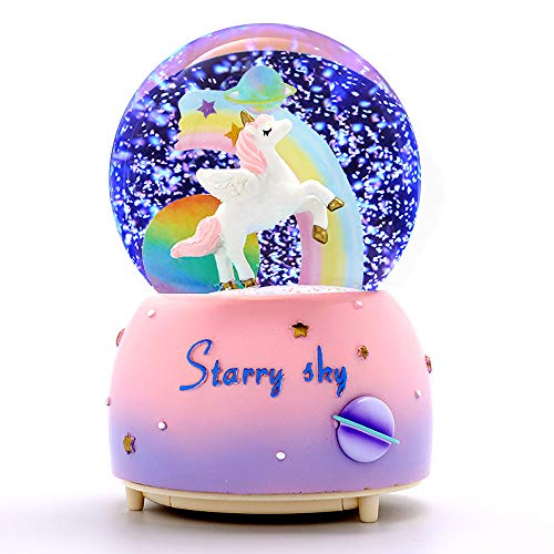 VECU Unicorn Snow Globe for Kids, 80 MM Snow Globe With Musics, Perfect Unicorn Music Box for Granddaughters Babies Birthday