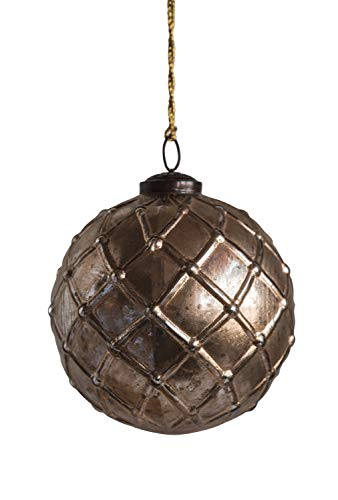 Creative Co-op Gold Checkered Ball Glass Ornaments, 4.75″