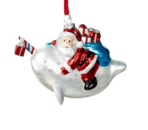 Holiday Lane at The Beach Santa Riding a Narwhal Ornament