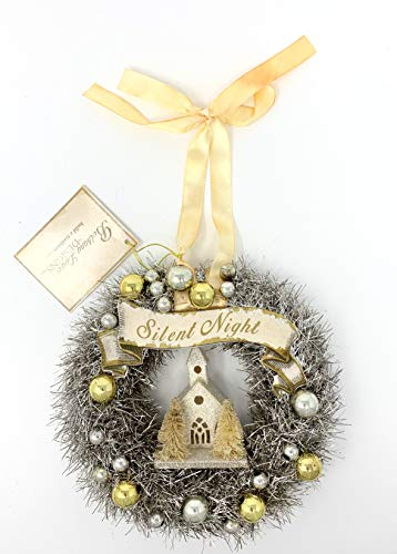 Bethany Lowe Peaceful Tinsel Wreath Featuring Church, Bottle Brush Trees, and Silent Night Banner, 6.5″ Diameter