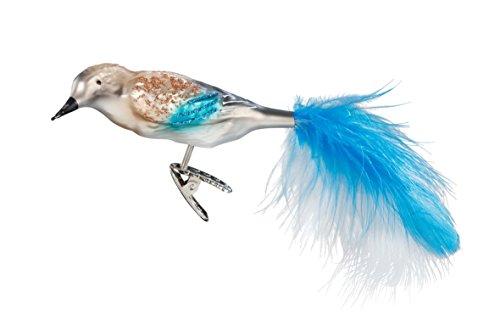Inge-Glas Bird Clip-On Jay 1-020-17 German Blown Glass Christmas Ornament